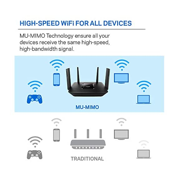 Linksys tri-band wifi router for home (max-stream ac2200 mu-mimo fast wireless router), black 5 provides up to 1,500 square feet of wi-fi coverage for 15+ wireless devices works with existing modem, simple setup through linksys app enjoy 4k hd streaming, gaming and more in high quality without buffering
