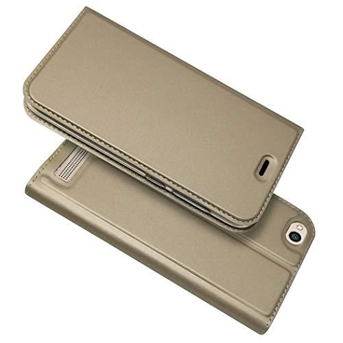 Ycloud Billetera Funda para Xiaomi Redmi 5A Smartphone, PU Cuero Flip Plegable Delgado Carcasa con Soporte Función y Ranura para Tarjeta (Dorado)