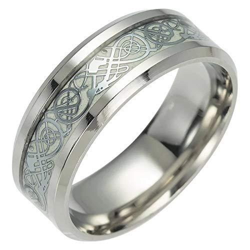 TwoBirch White Luminous Glow Celtic Dragon Wedding Ring Glowing Dragon Comfort Fit Wedding Ring 8 MM (Size 12)