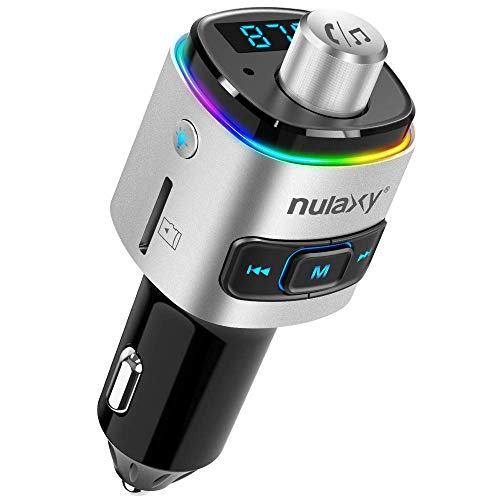Nulaxy Bluetooth FM Transmitter for Car, 7 Color LED Backlit Bluetooth Car Adapter with QC3.0 Charging, Support Siri Google Assistant,...