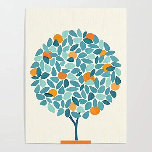 Póster de arte de pared Cuadros modulares Huerto Impreso Lienzo minimalista Pintura de árbol de naranja Planta Decoración del hogar para sala de estar 50x70cm Sin marco