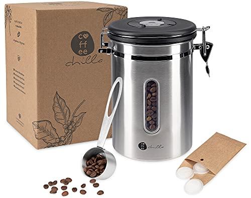 coffeechilla Kaffeedose Luftdicht 500g - Kaffeebohnen Behälter mit Sichtfenster, CO2-Ventil, Datumsanzeige und Kaffeelöffel - für frisch duftende Bohnen und gemahlenen Kaffee - Kaffeedose Edelstahl