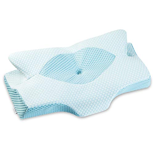 Elviros Cervical Memory Foam Pillow, Contour Pillows for Neck and Shoulder Pain, Ergonomic Orthopedic Sleeping Neck Contoured Support Pillow for Side Sleepers, Back and Stomach Sleepers (Blue-S)