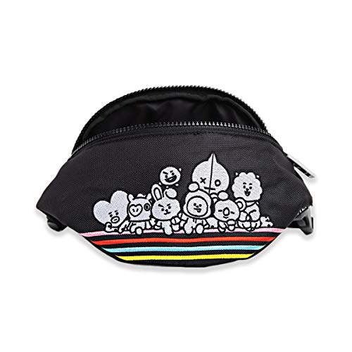 BT21 Character Unisex Embroidered Nylon Fanny Pack Waist Belt Bag, Black