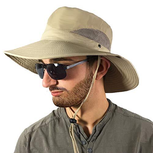 WeiMay plegable sombrero de playa sombrero de mano transpirable visera visera de la cara para mujeres deportes al aire libre khaki