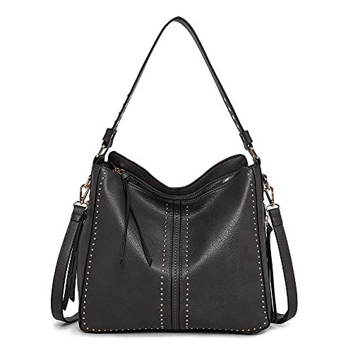Montana West Large Leather Hobo Handbag for Women Concealed Carry Studded Shoulder Bag Crossbody Purse MWC-1001DGY