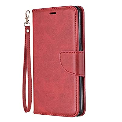 Leather Wallet Case for Huawei Mate 10 Lite/Honor 9i, Flip Case Leather with Kickstand,Folio Magnetic Closure Protective Cover with Card Slots for Huawei Mate10 Lite/G10 - DEBF110585 Red