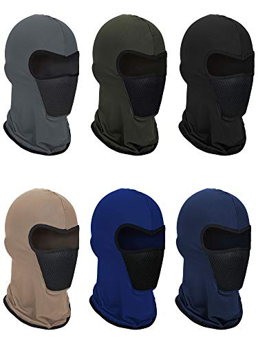 6 Pieces Summer Balaclava Face Mask Breathable Sun Dust Protection Mask Long Neck Cover for Outdoor Activities (Blue, Khaki, Black, Navy Blue, Grey, Army Green)