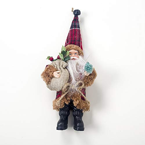LZL Christmas Santa Claus Doll Christmas Tree Decoration Ornaments Navidad Noel Decoration 2021 Xmas Party Santa Doll (Color : Brown Santa Claus)