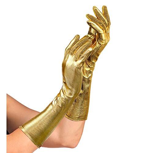 Widmann 34242 - Handschuhe Showtime, 40 cm lang, für Damen, glänzend, gold, Kostüm, Karneval, Fasching, Mottoparty, Silvester