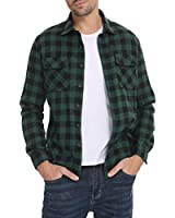 LecGee Mens Flannel Plaid Shirts Long Sleeve Regular Fit Button Down Casual Shirt Green