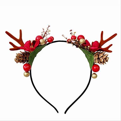 FHFF Kerstmuts, hertshoorn, met kattenoren, haarband, kinderen, volwassenen, accessoire voor haar, party, New Elk G