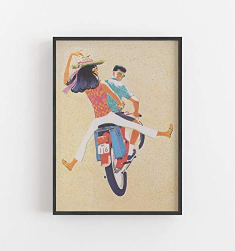 Scooter Print Motorfiets Poster Bromfiets Print Retro Print Romantiek Digitale Download Poster Downloaden Printable Art Grote Muur Kunst