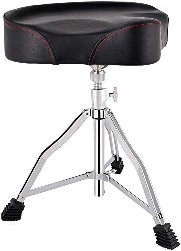 ROWELL Drum Throne Universal Upgraded,Padded Drum Seat Portable Height Adjustable drumming Stools with Anti-Slip Feet for Adults and Kids Black (Black) (Motorcycle Seat)