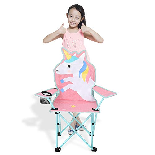 olyee Kids Folding Lawn and Camping Chair, Unicorn Portable Seat Stick Chair with Mesh Cup Holder, Foldable Garden Chair Beach Chair for Children