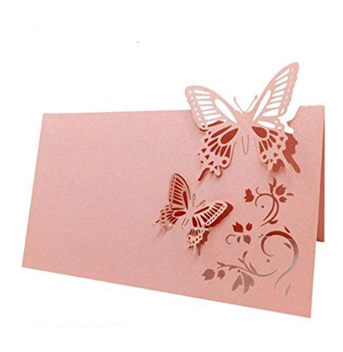 Milopon Tischkarten Platzkarten Papier Namenskärtchen Schmetterling Tischkärtchen für Hochzeiten Partys 50pcs (Rosa)