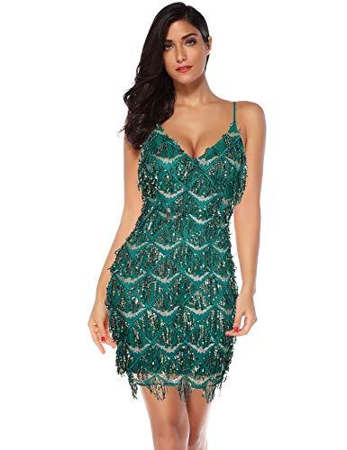 Meilun Womens Sequin Fringe 1920s Flapper Inspired Party Dance Dress (Green, XL)