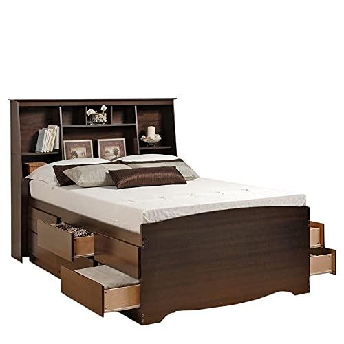 Prepac Manhattan Tall Queen Bookcase Platform Storage Bed in Espresso...