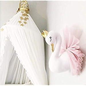m·kvfa Swan Wall 3D Object Decoration Child Bedroom Ornament Girl Birthday Gift Nordic Decoration Home Nursery Girl Princess Decor