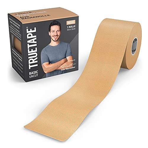 TRUETAPE® Basic - Kinesiotape   5m x 5cm Rolle   wasserfestes & elastisches Kinesiologie Tape für den Alltag   hautfreundlich mit perfektem Tragekomfort I Beige