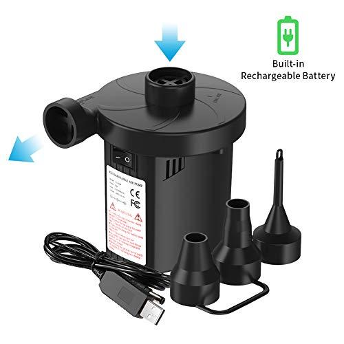 Volador Elektrische Luftpumpe, Elektropumpe Power Pump USB Luftmatratze Pumpe, 2 in 1 Elektropumpe mit 3 Luftdüse, Multifunktion Elektropumpe für Aufblasbare Matratze Kissen Bett Boot Schwimmring