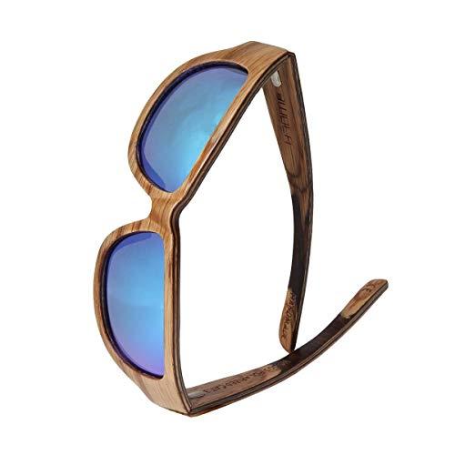 WOLA TYPHON Sport Sonnenbrille Holz Damen (Mittel) und Herren (Small) stylische Brille Eiche blau gradient