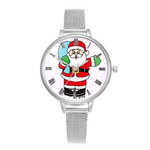 VECOLE Damenuhren Geschenk für Frauen Weihnachtsmode Schlichtes Design Zifferblatt mit römischen Ziffern Edelstahlarmband Uhren Quarz Analoganzeige Uhr(Silber-1)