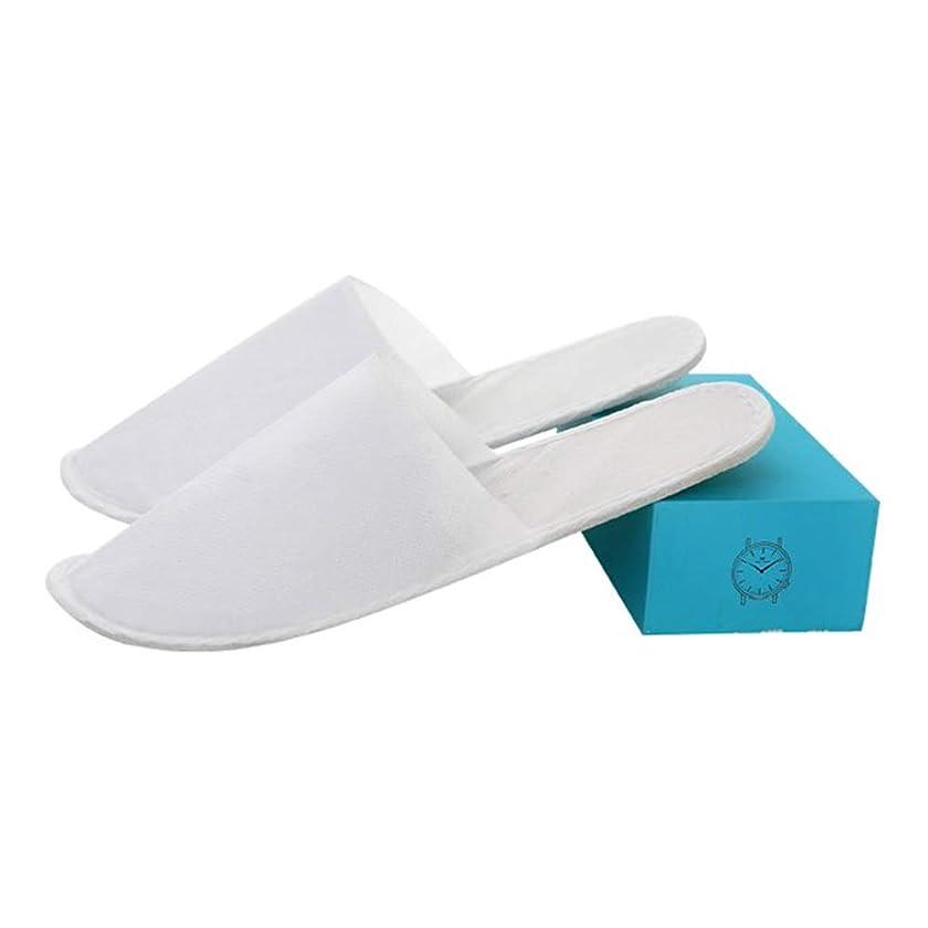 アセンブリパリティ発症YNN 白い閉じたつま先の使い捨て可能なスパホテルのスリッパの不織布は男性と女性のために個々に軽量を詰めました (色 : 10 pairs)