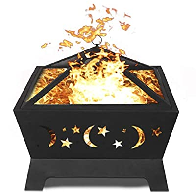 hmercy Outdoor Fire Pit 24 Inch Fireplace Patio Bonfire for Outside with Spark Screen and Fireplace Poker