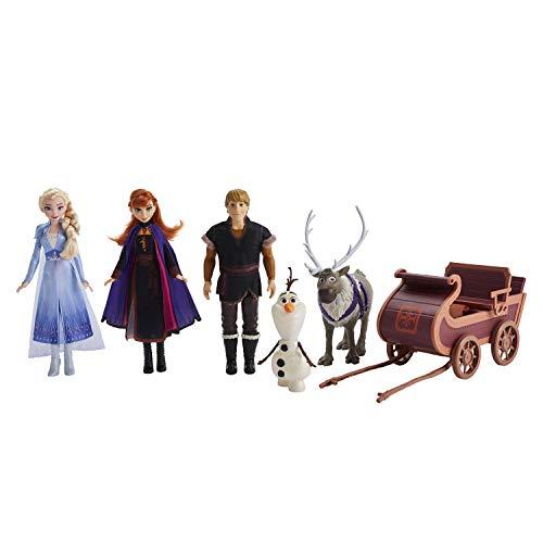 Disney Die Eiskönigin Abenteuerliche Schlittenfahrt, enthält Elsa, Anna, Kristoff, Olaf und Sven Puppen mit Schlitten, Spielzeug inspiriert durch den Film Die Eiskönigin 2