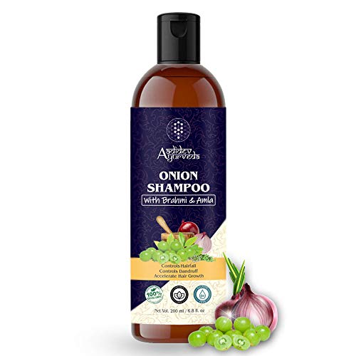 Aadidev Ayurveda Onion Shampoo for Hair Growth; Hair fall & Dandruff Control with Brahmi; Amla; Argan Oil; Vitamin E and 10 Natural Extracts & Herbs - 200ml