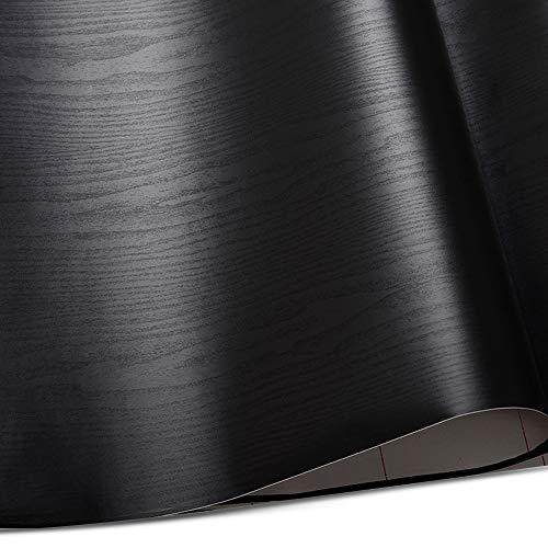 Tyelany Papel Pintado de Grano de Madera, 0,4 x 5m Papel Pintado Autoadhesivo, 1 Rollo Papel Pintado de PVC, Seguro y No Tóxico, para Dormitorios, Paredes, Mesas, Puertas, Salas de Estar, (Negro)