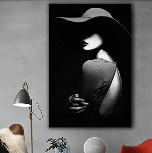 liujiu Porträt Schwarz Weiß Drucke Glamour Frau mit Hut Leinwand Wandkunst Poster und Drucke für Heimtextilien Bilder Geschenk -50x70Cm Kein Rahmen