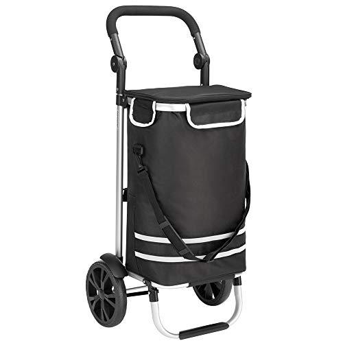 Monzana 2in1 Einkaufstrolley 56L bis 50 kg klappbar abnehmbare Tasche Handwagen Einkaufswagen Einkaufshilfe Roller Schwarz