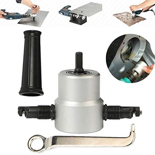 Buy Bargain Double Head Sheet Metal Nibbler Cutter, Dual Head Nibbler Metal Cutting Drill Hole Saw Attachment Tool, Tackle Car Repair Metal Sheet