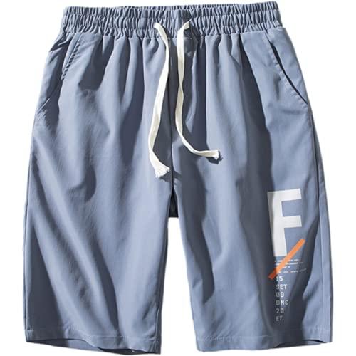 Pantalones Cortos Estampados para Hombre Tendencia Suelta Ropa de Calle Fina Cintura elástica Pantalones Cortos Informales con cordón para la Playa al Aire Libre Verano M