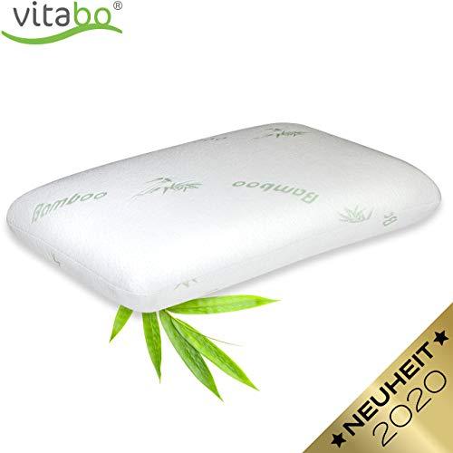 Vitabo Orthopädisches Kopfkissen, ergonomisches Kissen aus Memory-Schaum und Bambusbezug I Nackenkissen für Seitenschläfer aus Viscoschaum I Anti-Schnarch