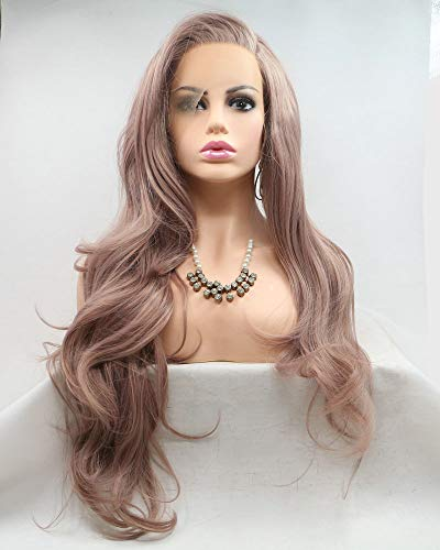 Smoke Pink Lace Front Wig Dirty Pink Color Long Wave Hair Glueless Cap Synthetic Wigs for Drag Queen Women Girls Replacemnt Cosplay Wedding Wigs Natural Hairline Side Parted 26'