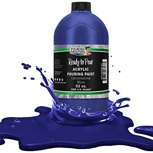 Pouring Masters Ultramarine Blue Acrylic Ready to Pour Pouring Paint – Premium 32-Ounce Pre-Mixed Water-Based - for Canvas, Wood, Paper, Crafts, Tile, Rocks and More