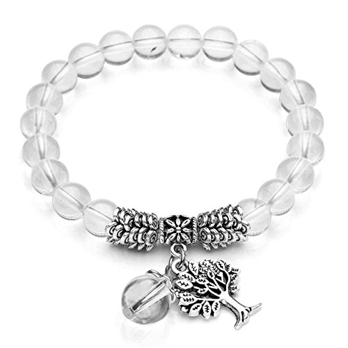 JSDDE Natural Gemstone Tree of Life Stretch Bracelet, Reiki Healing Crystal Beads Bracelet Jewelry(Clear Quartz)