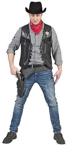 Kostüm Cowboyweste Ryder Herren Größe 52/54 / Cowboykostüm Wilder Westen Herrenkostüm Schwarz Karneval Fasching Pierro's