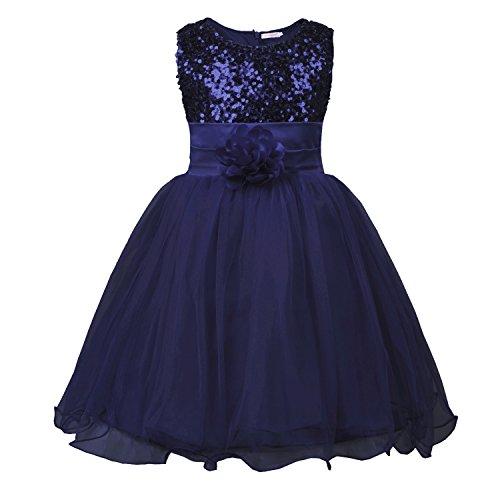 JerrisApparel Kleines Mädchen Paillette Blume Hochzeit Bankett Party Kind Kleid (6 Jahren, Dunkelblau)