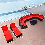 Juego de sofás de jardín de 13 piezas con cojines de polirratán rojo, 4 sofás rectos, 4 sofás redondos, 1 mesa de café cuadrada y 2 redondeados para la mesa, 2 tumbonas individuales