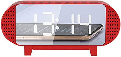TUIHJA Reloj Despertador con Altavoz Bluetooth, Radio Reloj Despertador con Altavoz Bluetooth 5.0 Radio FM Temporizador de Apagado Pantalla de Espejo LED Reloj Despertador