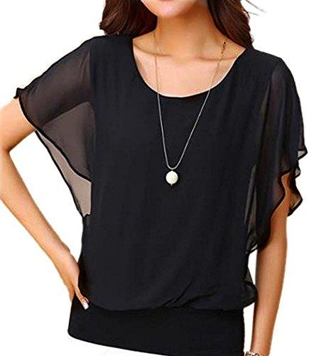 Neineiwu Women's Loose Casual Short Sleeve Chiffon Top T-Shirt Blouse (Black XL)