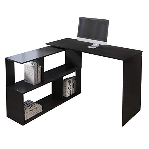 EUCO Computer Desk,Black Office Desk L-Shape PC Gaming Desk Wood Corner Workstation Desk Large Study Table for Home/Office (Black(Rotatable))