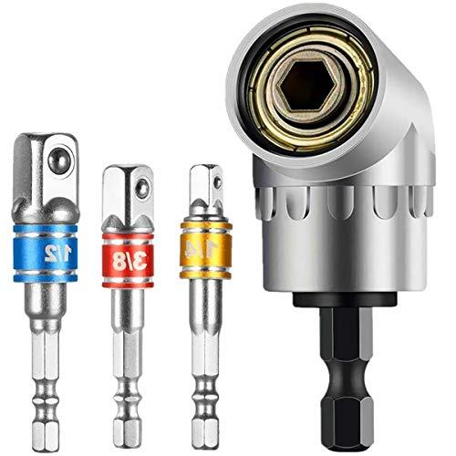 Adattatore per avvitatore angolare a 105°, 1/4', impugnatura esagonale, 3 pezzi, 1/4' 3/8' 1/2', chiave a bussola angolare per avvitatore a batteria, trapano a bussola, set per portapunte