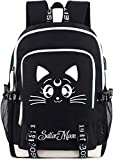 Roffatide Anime Sailor Moon Luminous Backpack Laptop Backpack with USB Charging Port And Headphone Port