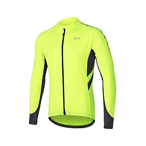 ARSUXEO Maillot de Ciclismo para Hombre Camisa de Manga Larga con Cremallera Completa y Bolsillos 6030 Verde S