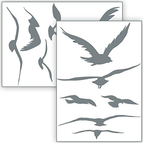 Vogelschutz und Fensterschutz - 12 Aufkleber - Schutz vor Vogelschlag - Sticker Vögel (Grau)